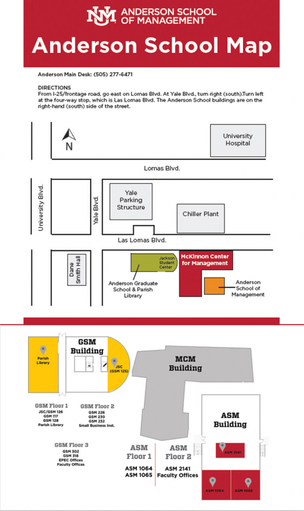 UNM Anderson School Map